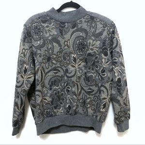 Vintage Alfred Dunner paisley sweater grey gray